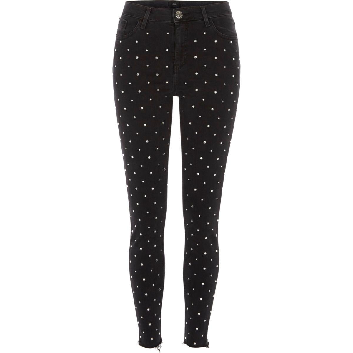 Zwarte superskinny Amelie jeans met glimmende studs