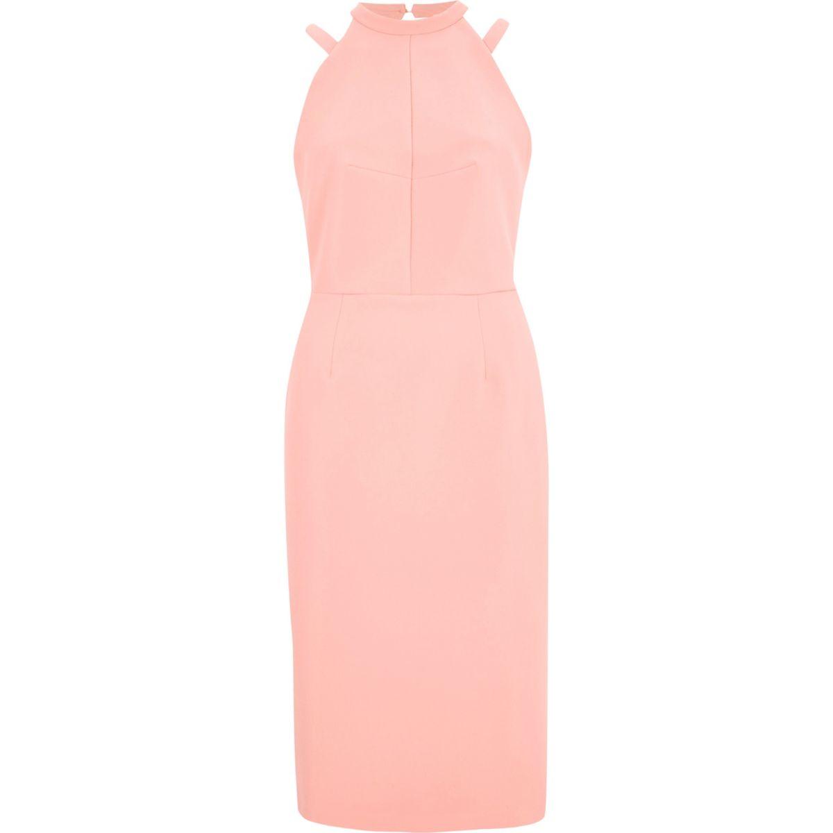 Light pink bow back midi bodycon dress