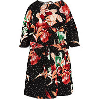 Black floral cold shoulder skort playsuit