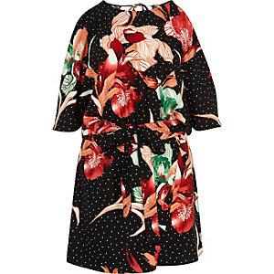 Combi-short jupe-culotte à fleurs noir à épaules dénudées