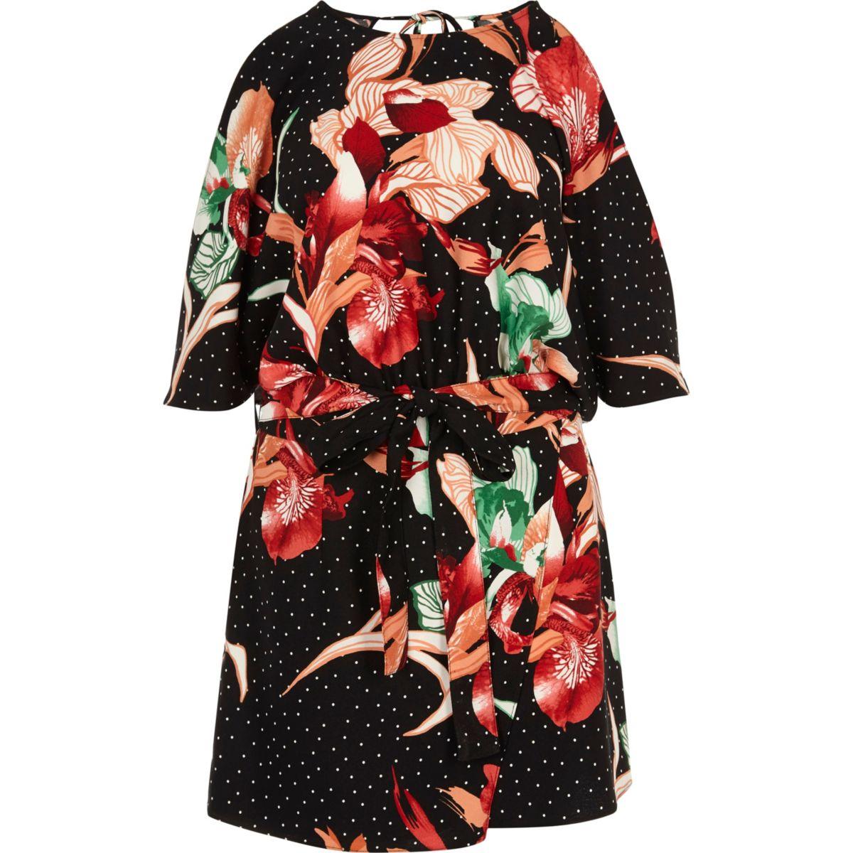 Zwarte playsuit met schouderloze skort en bloemenprint