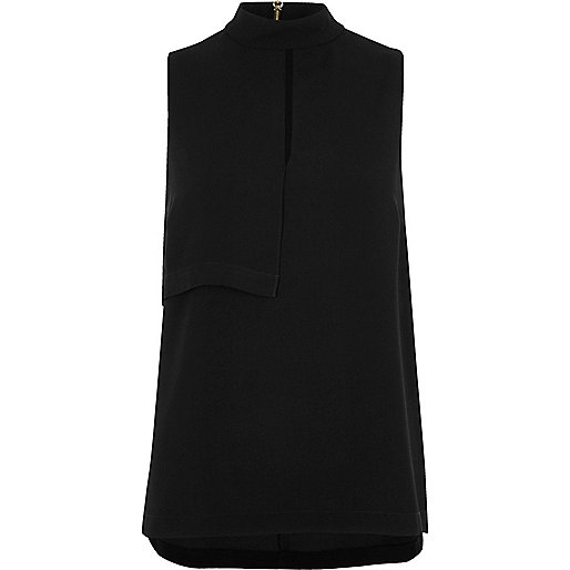 Black high neck sleeveless keyhole top