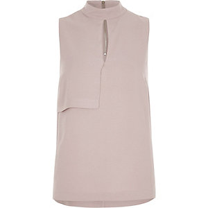 Pink high neck sleeveless keyhole top