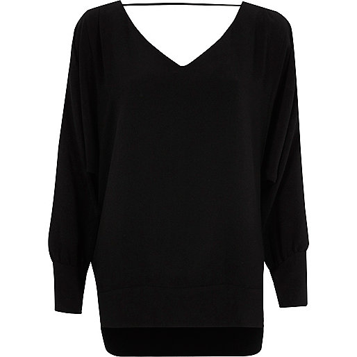 Black batwing V neck top