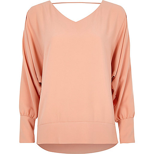 Light pink batwing V neck top