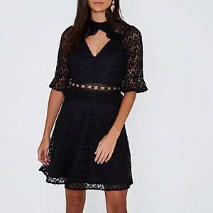 Black lace eyelet waist keyhole dress