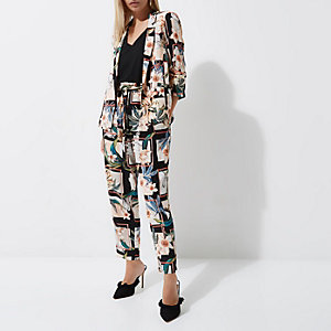 Petite cream floral print blazer
