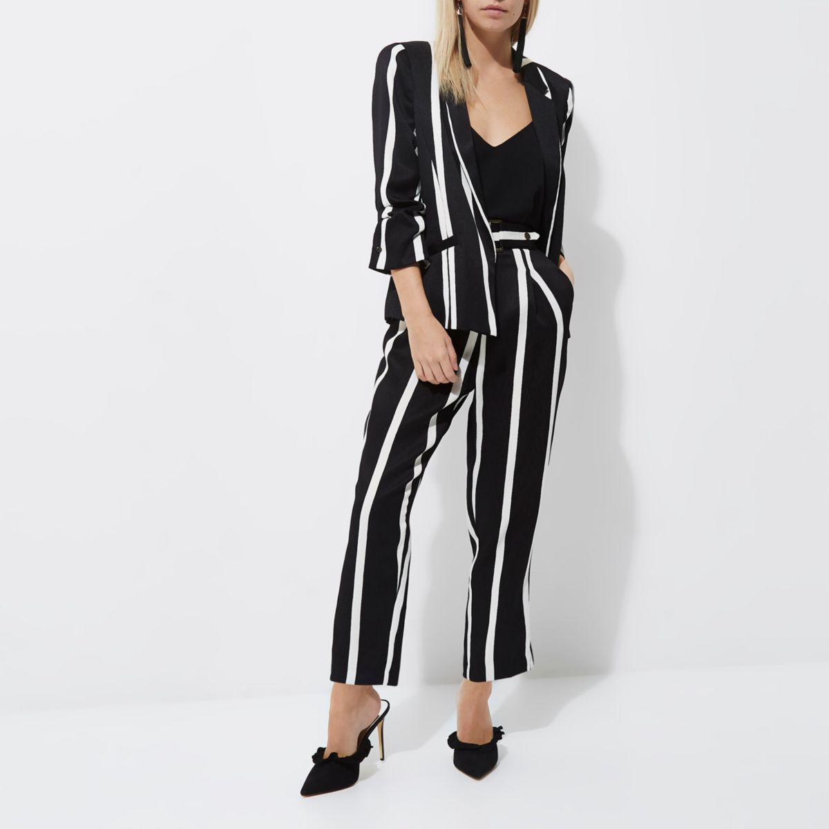 Petite black stripe ruched sleeve blazer