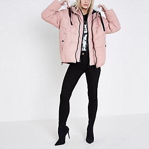 Petite pink faux fur trim hood puffer jacket