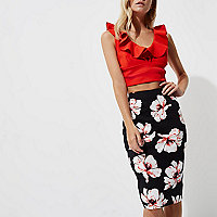 Petite black floral print midi pencil skirt