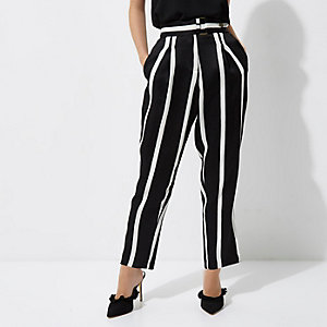 Petite black stripe tapered leg trousers