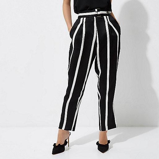 Petite black stripe tapered leg pants