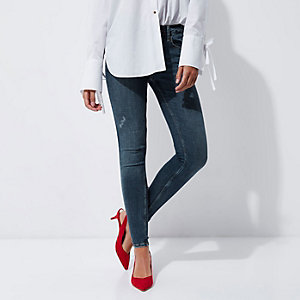 Mid blue distressed Amelie super skinny jeans