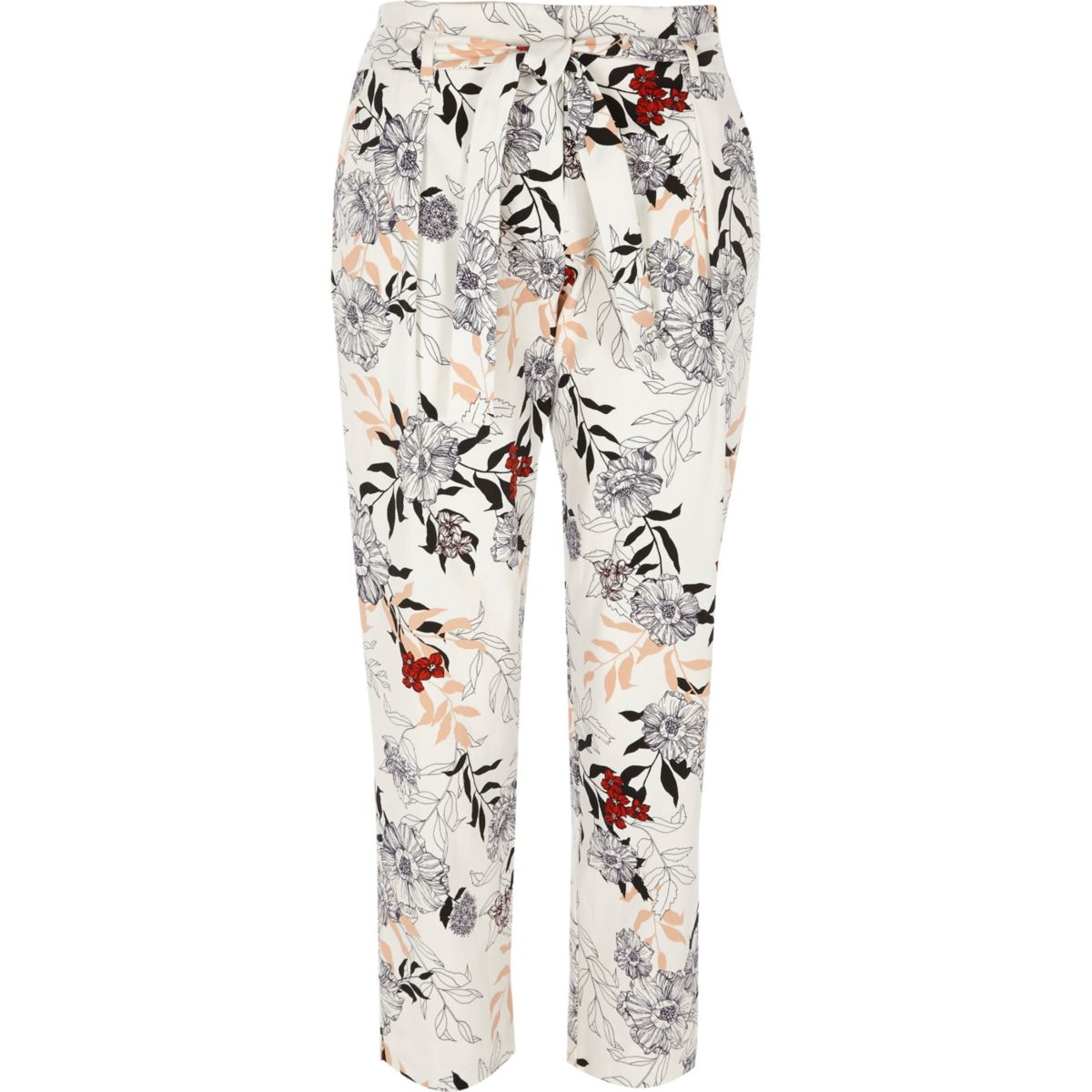 Cream floral print tie waist tapered trousers