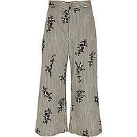 Black stripe floral print culottes