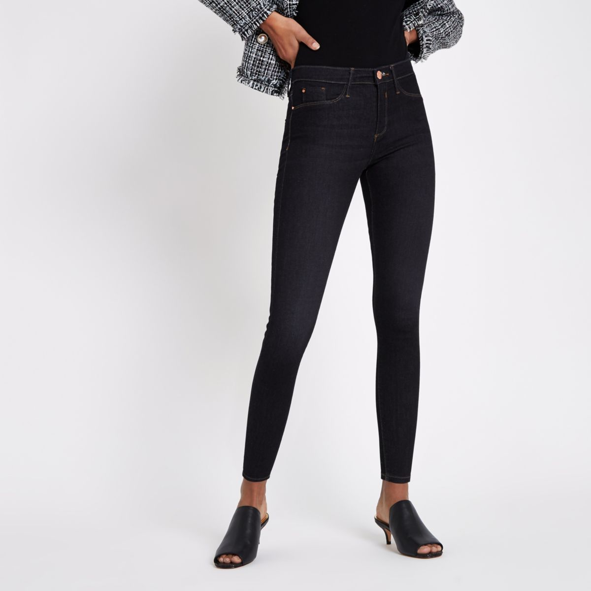 Dark blue wash mid-rise skinny Molly jeggings
