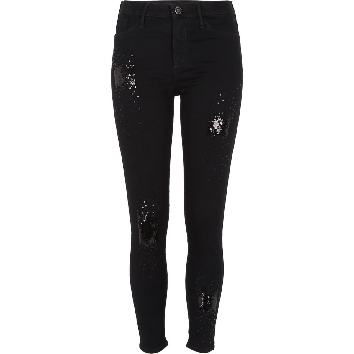 Black sequin embellished Molly jeggings