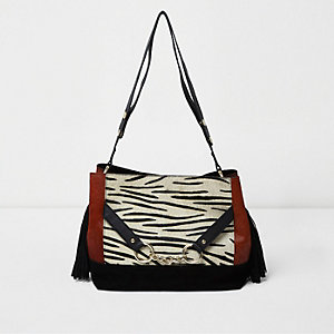 Black zebra print pony hair and suede bag