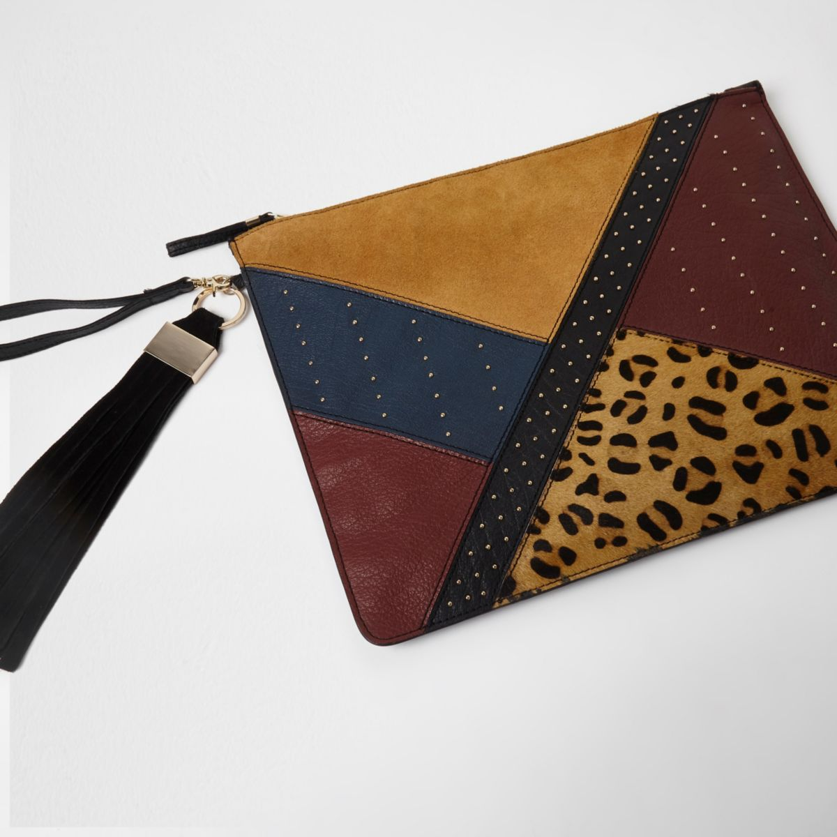 Beige leather patchwork stud large clutch bag