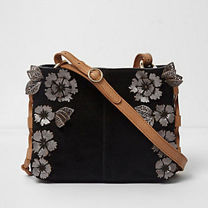 Black suede 3D flower cross body bag