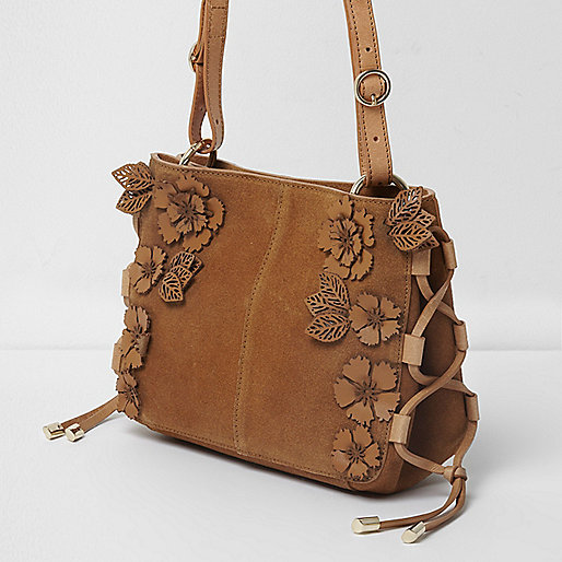 Tan suede 3D flower cross body bag