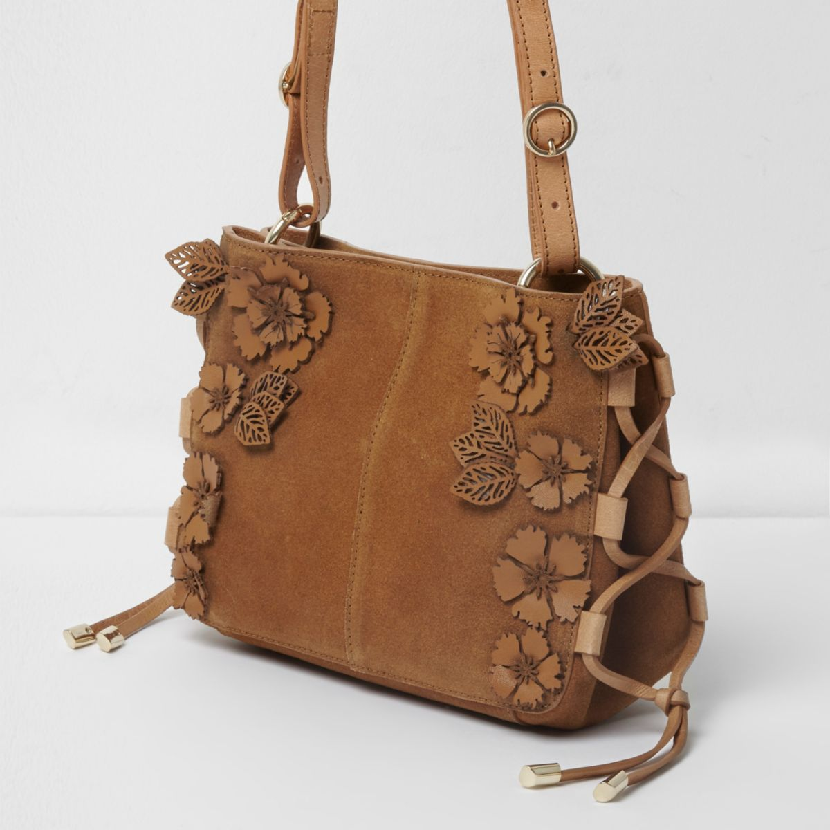 Tan Suede 3D Flower Cross Body Bag - Shoulder Bags - Bags U0026 Purses - Women