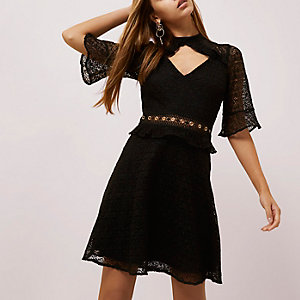 Black lace frill waisted dress