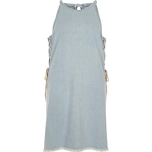 Light blue denim lace-up sides mini dress