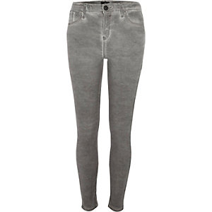 Grey Amelie coated super skinny jeans