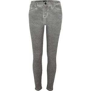 Amelie - Grijze superskinny jeans met coating