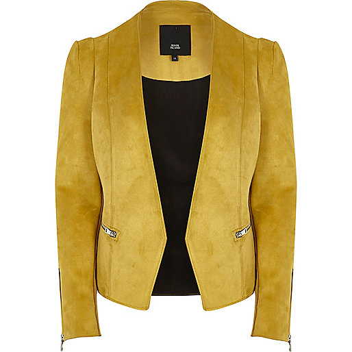 Yellow faux suede scuba blazer