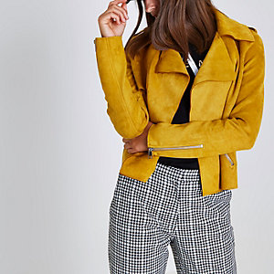 Yellow faux suede cropped trench coat jacket