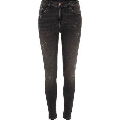 Amelie Zwarte distressed super skinny jeans