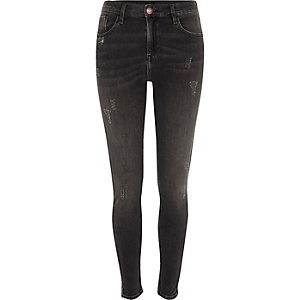 Amelie - Zwarte distressed super skinny jeans