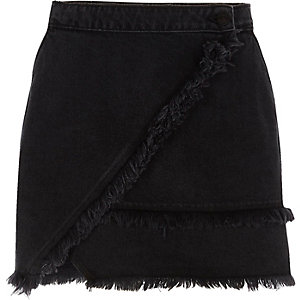 Black frayed trim denim mini skirt
