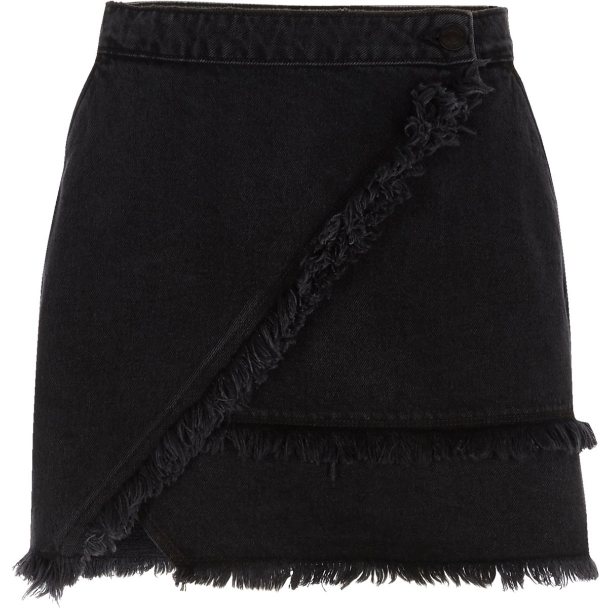 Black frayed trim denim mini skirt