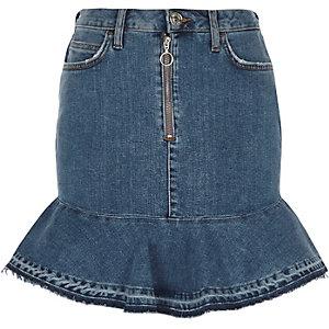 Jupe en jean péplum bleu moyen