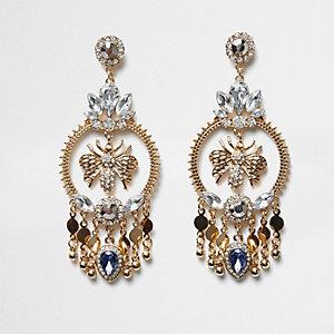 Gold tone wasp hoop embellished earrings