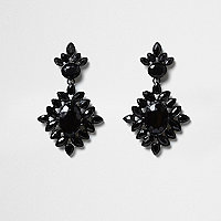Black jewel embellished drop earrings