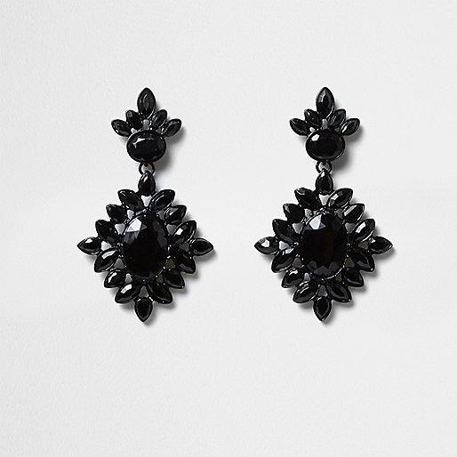 Black jewel embellished drop earrings