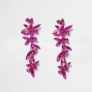 Pendants d'oreilles rose vif motif fleurs