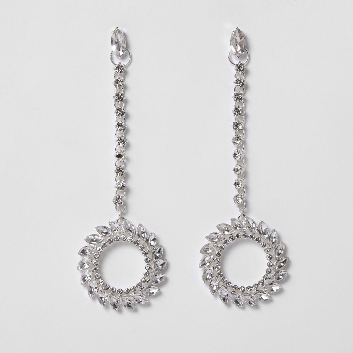 Silver tone diamante hoop drop earrings