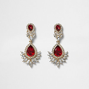 Gold tone red gem drop earrings