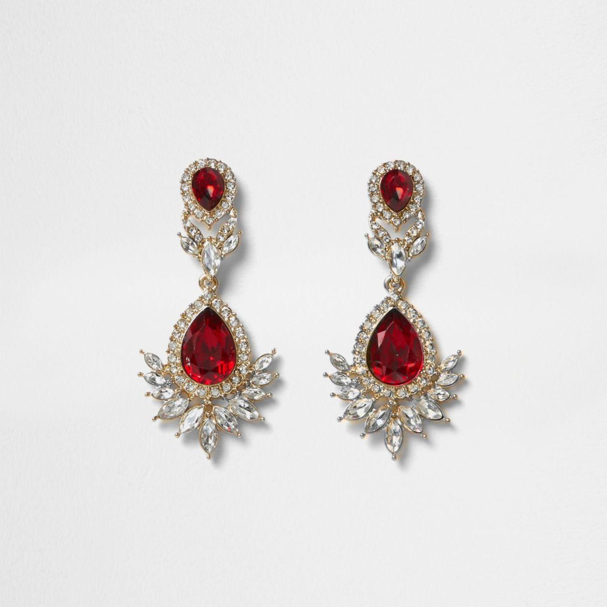 Gold tone red gem drop earrings
