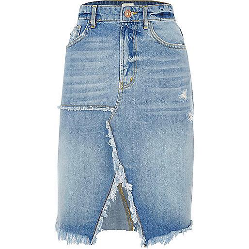 Mid blue split frayed hem denim midi skirt