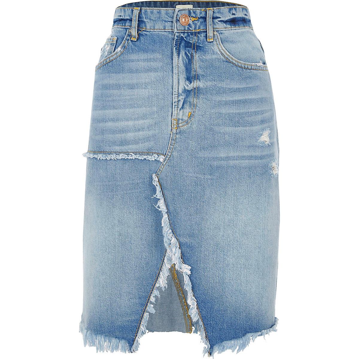 Mid Blue Split Frayed Hem Denim Midi Skirt Skirts Sale Women Long Mickey