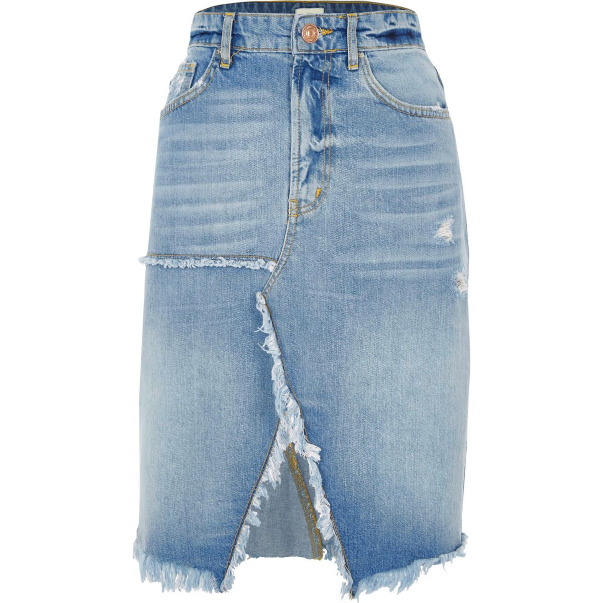 Mid blue split frayed hem denim midi skirt