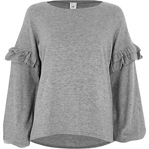 Grey frill balloon sleeve knit top