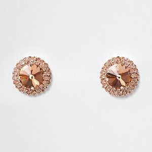 Orange round jewel stud earrings