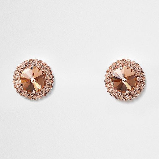 Orange round jewel stud earrings
